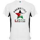 tee shirt noir et blanc Palestine libre + etoile couleurs palestine 130